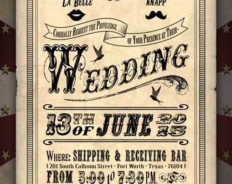 Custom Carnival Wedding Invitation Digital Download