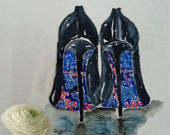 Fashion Illustration Blue Shoes
