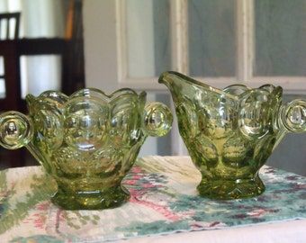 NEW PRICE! Green Imperial Glass Cream and Sugar Set