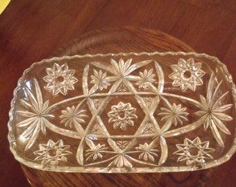 Lovely Heavy Rectangular Crystal Serving Dish