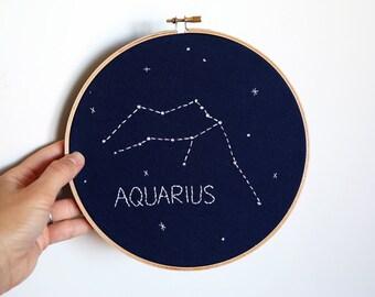 "AQUARIUS Glow-in-the-dark Zodiac Constellation Embroidery Hoop Art - Astrology Wall Hanging - Aquarius wall decor - Aquarius Birthday - 8"""