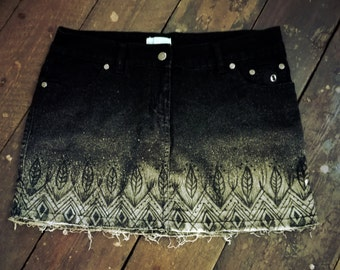 Black mini skirt with unique handcrafted decorations size S-M