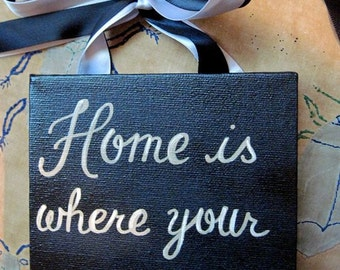 Home is Where your story begins sign from reclaimed wood