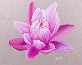 """Pink Lotus Pastel Giclee Print 9""""x12"""""""