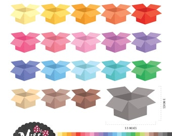 30 Colors Cardboard Boxes Clipart. Packaging supplies - Instant Download