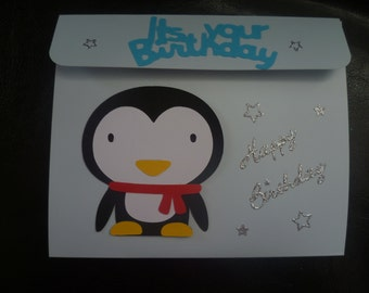 Penguin explosion pop up birthday card
