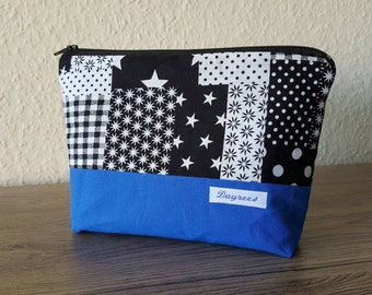 Lined zippered pouch cosmetics bag with extra pocket