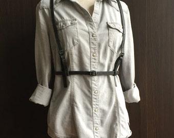 Leather fashion harness, adjustable, vintage black, waist-belt