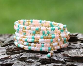 Ladies Bracelet, Wrap Bracelet, Summer Accessory, Eight times Wrap, Memory Wire Bangle, Jewellery, Bracelet, Beaded Memory Wire,