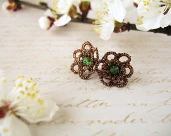 Stud earrings Delicate post earrings Clip on earrings Tatting lace earrings Tatted jewelry Bohemian stud earrings Birthday Gift for her