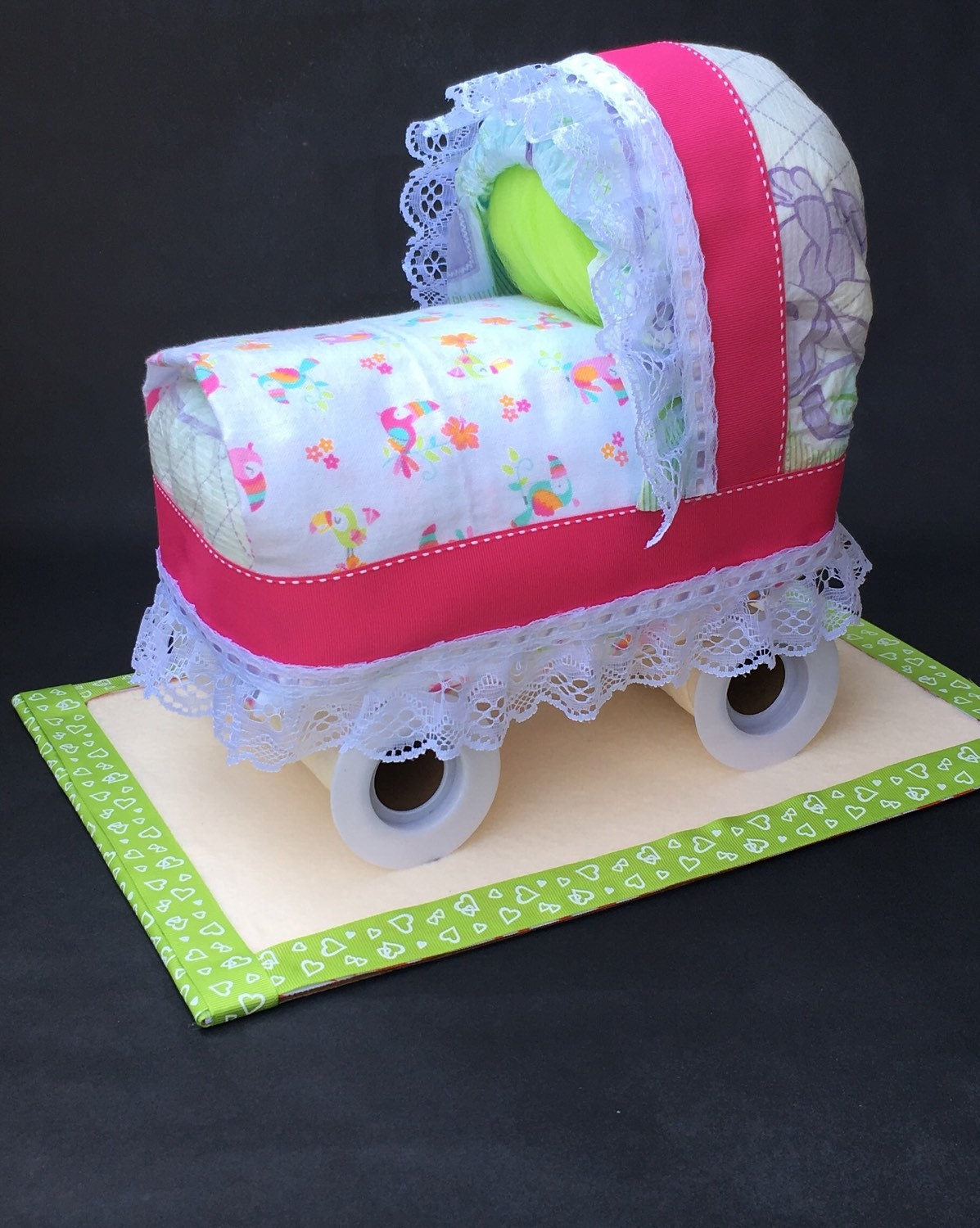 Pink And Green Diaper Bassinet Diaper Carriage Cake Baby