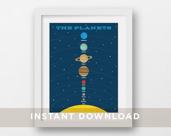 The Planets Art Printable, DIY Printable, Planets Poster, Instant Download, Outer Space Print, Space, Planet Illustration, Kids Decor, 8x10