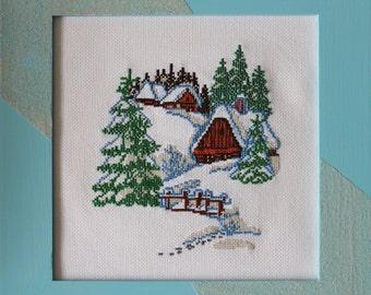 Winter landscape - cross stitch, framed picture