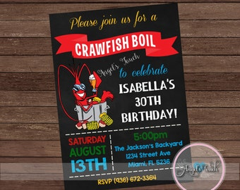 Crawfish Boil Party Invitation, Crawfish Boil Birthday Invitation, Crawfish Boil Invitation, Crawfish Boil Party, Digital File.