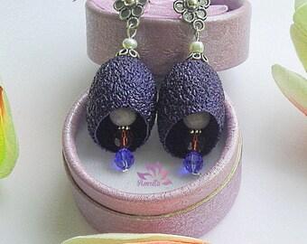 Extraordinary Dark Blue Genuine Silkworm Cocoons and Gemstones Earrings, Gemstones Earrings, Silkworm Cocoons Earrings, Blue Earrings