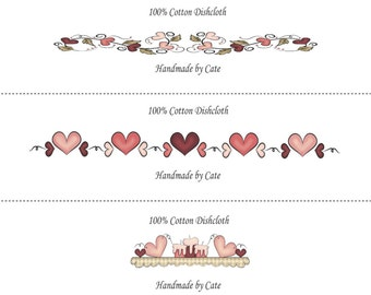 Hearts Labels/Wraps for your Dishcloths/Washcloths - PDF FILE ONLY