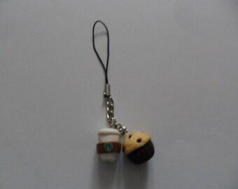 Charm/Keychain fruits & coffee cupcake
