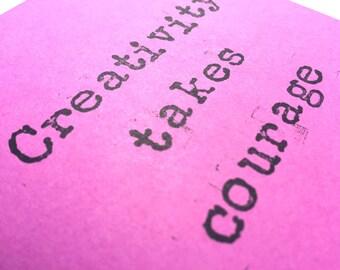 Creativity takes courage mini sketchbook hand stamped sketchbook hand stamped notepad