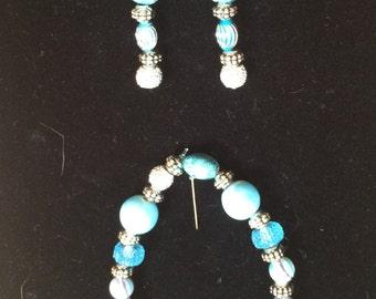 Aqua Blue Toned Beaded Bracelet and Earring Set