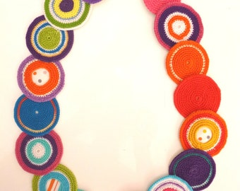Crochet and Fabric necklace