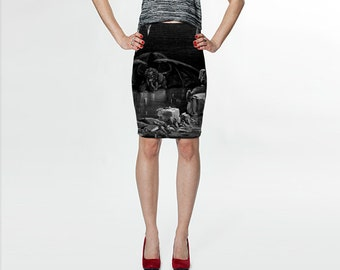 vision of hell - gustave doré - fitted printed skirt
