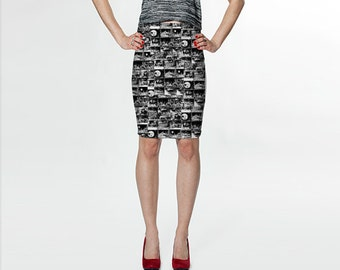 le voyage dans la lune - french silent film - fitted printed skirt
