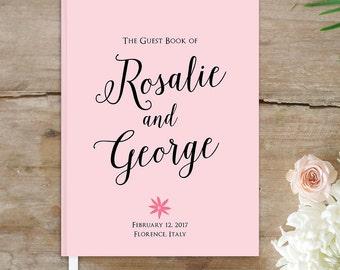 Wedding Guest Book, Personalized Wedding Guestbook, 8x10 Pink and Black Wedding Guestbook, Custom Guest Book Keepsake