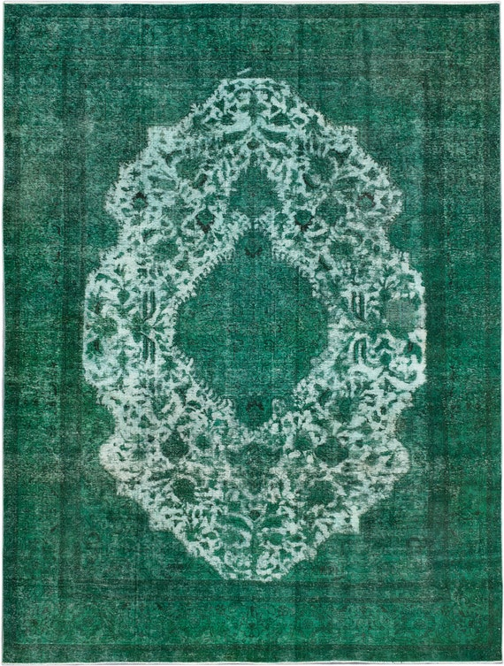 Emerald Green Over Dyed Large Vintage Area Sarvin Rug