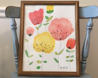 Original Abstract Watercolor Flowers