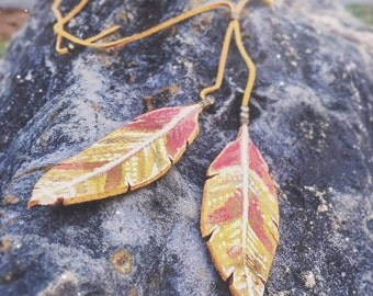 Yellow leaf Lariat// painted leather necklace// festival fashion
