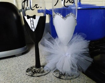 Bride and groom handmade champagne or wine glasses