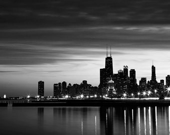 Chicago Skyline Photography - Black and white Photography - Chicago Skyline Wall Art - Chicago Night Photography - Fine Art Print