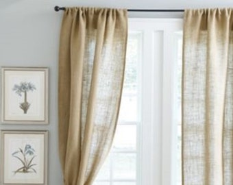 Pair Burlap Curtain Valance Panels natural tan brown Jute fabric country rustic