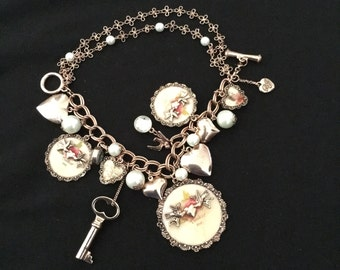 Betsey Johnson Bracelet Think Of Me Heart Locket Angels Faux Pearls (Rare)