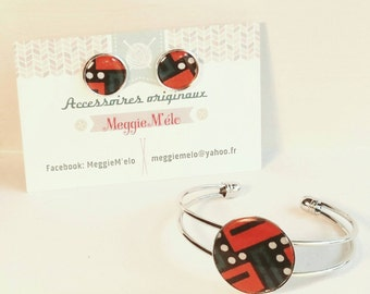 chip earring and metal cabochon bracelet