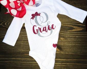 Baby girl long sleeve bodysuit with name