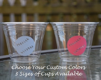 20 Baseball Gender Reveal Cups, BPA Free, 9 12 & 16 oz Cups, Baseball Baby Shower Cups, Clear Plastic Disposable Cups, Sports Gender Reveal