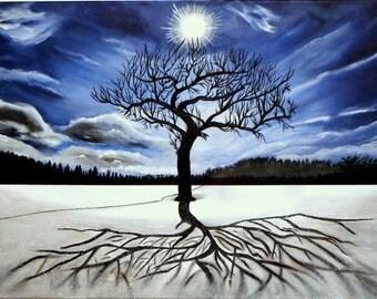 Winter landscape with tree * 70 x 50 cm * acrylic on canvas * landscape