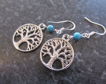 Sterling silver turquoise drop earrings tree of life hippie boho handmade.