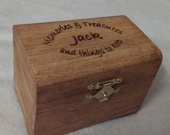 Personalised wooden treasure box with FREE gemstone engraved memories and treasures