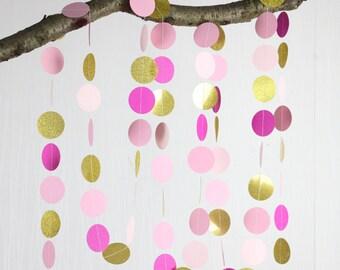 Pink Gold garland,gold party decor, Birthday Decor,Gold pink Wedding decoration, paper garland