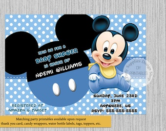 PRINTED Or Digital Cute Baby Mickey Baby Shower Invitations, Mickey Mouse  Baby Shower Invitations,