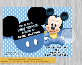 Delightful PRINTED Or Digital Cute Baby Mickey Baby Shower Invitations, Mickey Mouse  Baby Shower Invitations,
