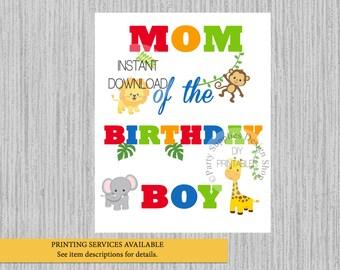 Jungle Mom of the Birthday Boy Iron On, Instant Download, Safari Animals Birthday Tshirt Printable Iron On, Jungle Party Supplies