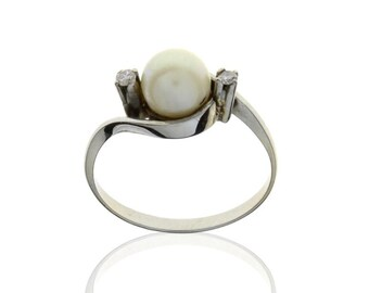 Vintage Ring White Gold 19.2K with Pearl and Diamonds From Portugal - XX th
