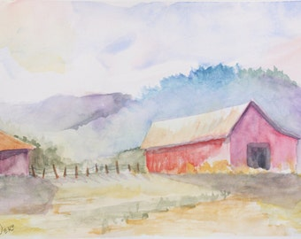 Country Barn Watercolor Painting
