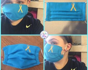 Custom Made Embroidered Awareness Ribbon Medical Mask