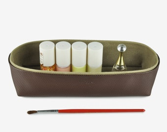 Storage Box for Desk , Pencil Case, Make up case, Desk Organizer, Geometric Pattern, Brown