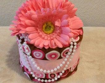 Mini Diaper Cake- Pink & Brown