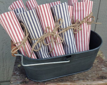Set of Four Ticking Stripe Napkins
